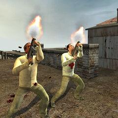 Rebeldes usando la MP5K en NLO