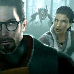 Freeman y Alyx siendo perseguidos por Hunters