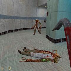 Guardia de seguridad disparando a un zombie/Primera aparición de los zombies