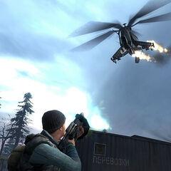 Un Rebelde disparándole al Helicóptero-Cazador con un RPG de la Resistencia
