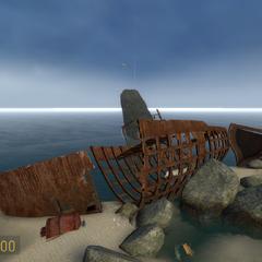 Barco comercial encallado en la zona costera de St. Olga