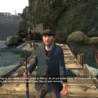 El Pescador hablando con Freeman