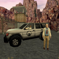 SUV listo y todos a punto de subir y escapar a salvo de Black Mesa