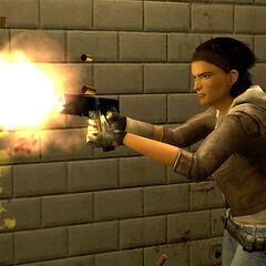Alyx disparando su pistola en Episode One