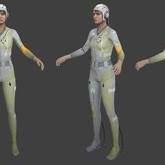 Vistas del modelo de Portal 2 de Chell, con el Reemplazo de Rodilla Avanzado.
