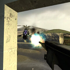 El Helicóptero-Cazador siendo disparado por el cañón de pulso montado de la Entrada 5