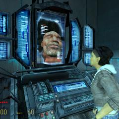 Alyx viendo a Eli inconsciente dentro de una vaina en Nova Prospekt