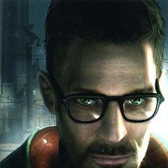 Rostro de Freeman como aparece en la portada de Half-Life 2