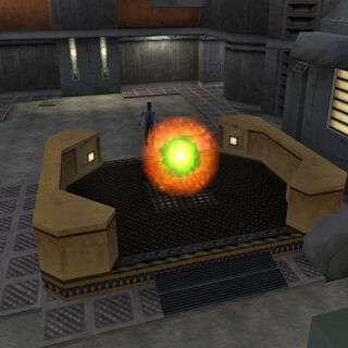 Simmons escapando por el portal fuera de Black Mesa