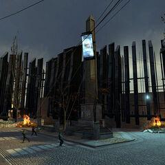 rebeldes derribando el breencast de la plaza de la estación