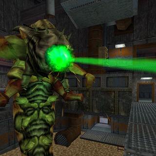 El Pit Worm disparando el láser de su ojo