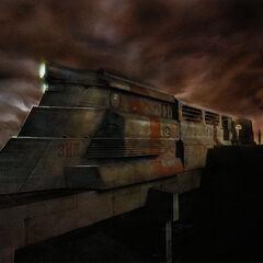 La versión temprana del Tren Razor reutilizado en una pieza de arte conceptual para el depósito, con la palabra