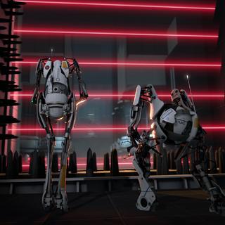 ATLAS y P-body frente a un campo láser encontrado delante de <a href=