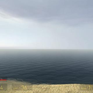 Restos del mar visto desde un muelle destruido