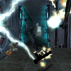 El Rifle de Pulso siendo destruido junto con las armas de Gordon en la Ciudadela