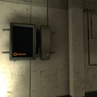 Dispositivo en un pasillo en un área de oficinas