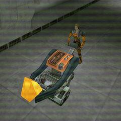 Gina Cross llevando la muestra a Gordon, vista por una camara de seguridad en Blue Shift