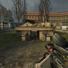 Soldado Poniendose a Cubierto de los disparos de Gordon