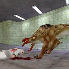 Bullsquid devorando a un científico