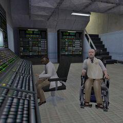 Keller y algunos científicos en los laboratorios gamma