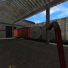 Contenedor rojo bloqueado por obstaculos