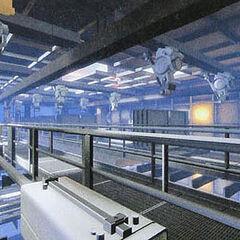 Área de mantenimiento de por debajo de una cámara de pruebas