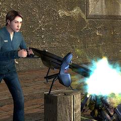 Rebelde defendiendo el Punto del Muelle con una Ametralladora