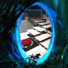 Contraparte de la captura anterior, mostrando a través del portal una cámara como nueva, y detrás del mismo, vegetación y una torreta centinela inactiva
