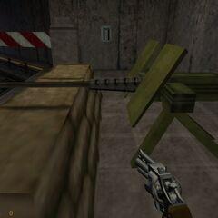 Ametralladora M2 vista en el Sistema de Transporte de Materiales de Black Mesa