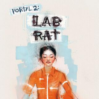 La portada de Lab Rat, con Doug haciendo el mural de Chell en la pared