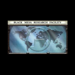 Logo de Black Mesa puesto en el mapa mundial en el lobby del Sector C