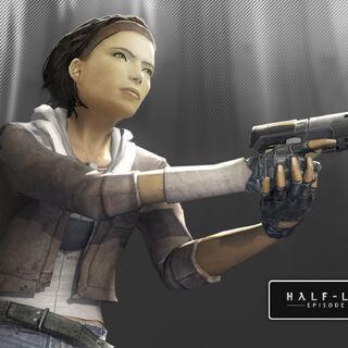 Alyx con su pistola en una imagen promocional de Episode One