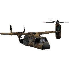 El modelo de un osprey destruido
