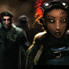 Alyx en frente de los Conscripts y el Capitán Vance.