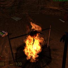 Headcrab siendo cocinado en la caverna del Vort sabelotodo