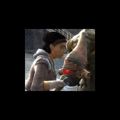 Alyx dándole un beso de agradecimiento antes de partir.