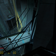 Stalker siendo custodiado por un Soldado Overwatch en la Ciudadela