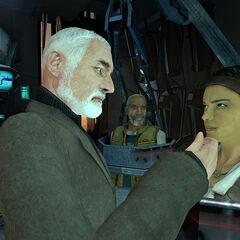 Eli, Gordon y Alyx en Cápsulas en la oficina de Breen