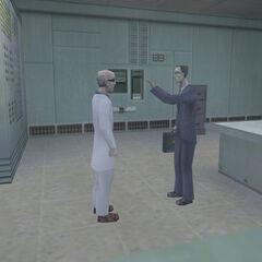 Cientifico conversando con G-Man antes del Incidente de Black Mesa