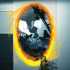 Captura de GLaDOS en su cámara arruinada, con vegetación entrando por el portal