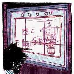 Rattmann mirando a Chell durmiendo en su Cámara de Relajación