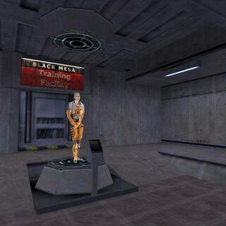 Entrada a la Pista de entrenamiento con el holograma de Gina Cross