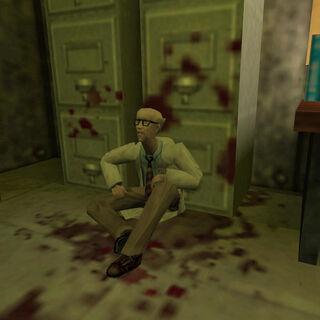 Harold encontrado por Calhoun poco antes de su muerte