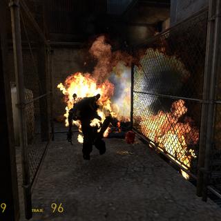 Zombi Venenoso quemandose por una trampa de Propano en Episode Two