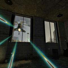 El Helicóptero-Cazador disparándole al jugador