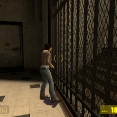 Alyx Vance tratando de abrir una puerta sellada