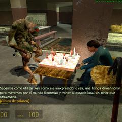 Vortigaunt y ciudadano jugando ajedrez