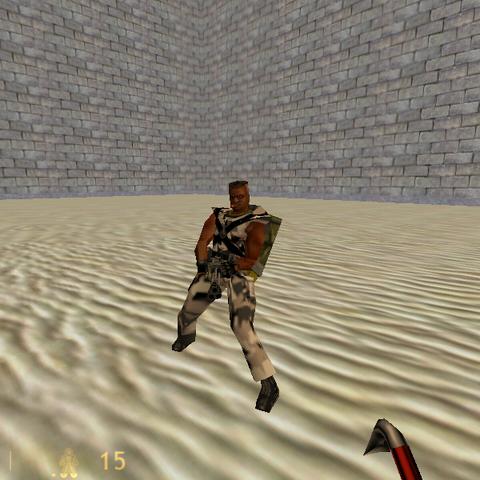 Sargento Humano mirando directamente al jugador