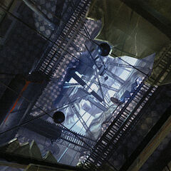 Arte conceptual de la estación de tren de la ciudad de 17 con Trenes Razor en el interior (aquí se ve a través del techo de cristal roto).