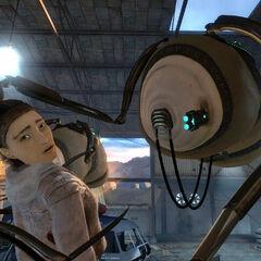 Alyx pidiéndole ayuda a Gordon mientras es sostenida por el Consejero